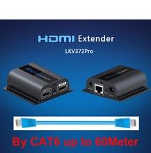 LKV372Pro HDMI extender 1080จุดHDMIสัญญาณไม่เกิน60เมตร/196ftกว่าเดี่ยวCAT6สายเคเบิลเครือข่ายHDMI Extender w/ห่วง-ออกและIRไม่มีแพ็คกล่อง