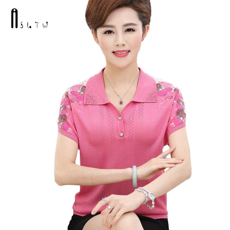 ASLTW Turn Down Collar T Shirt Women 2019 Summer Thin Women's Short Sleeve Knitting Top Plus Size Causal Female T Shirts