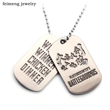 Wholesale STG Game Playerunknown's Battlegrounds Pendant Stainless Steel PUBG WINNER CHICKEN DINNER Letter Logo Dog Tag Pendant