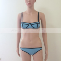 Rubber Latex Women Bikinis Bra and Shorts Sexy Rubber Swimsuit with Back Bottons One Set S LSW012