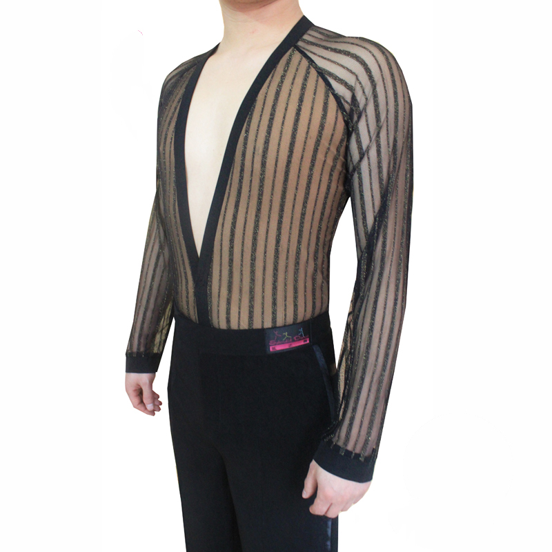 Latin Dance Shirts Men Black Stripe V-Neck Tops Modern Dance Clothing Competition Dancing Clothes Stage Performance Wear DN1923