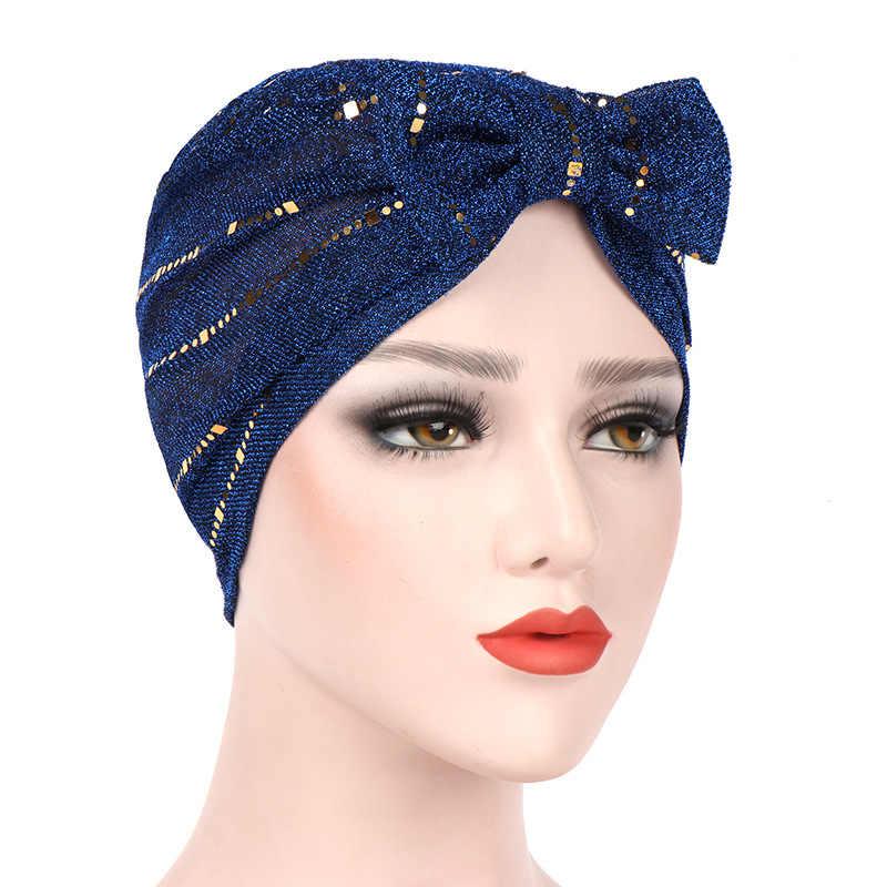 Women Sequined Bow Tie Front Headwear Headwrap African Head wrap Twist Hair  Band India Turban Bandana Bandage Hijab Accessories 506e477de0c