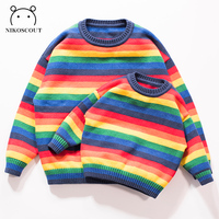 Limited Supply Family Matching Autumn Winter Rainbow Knitted Sweaters Family Matching Clothes Mother and Daughter Clothes