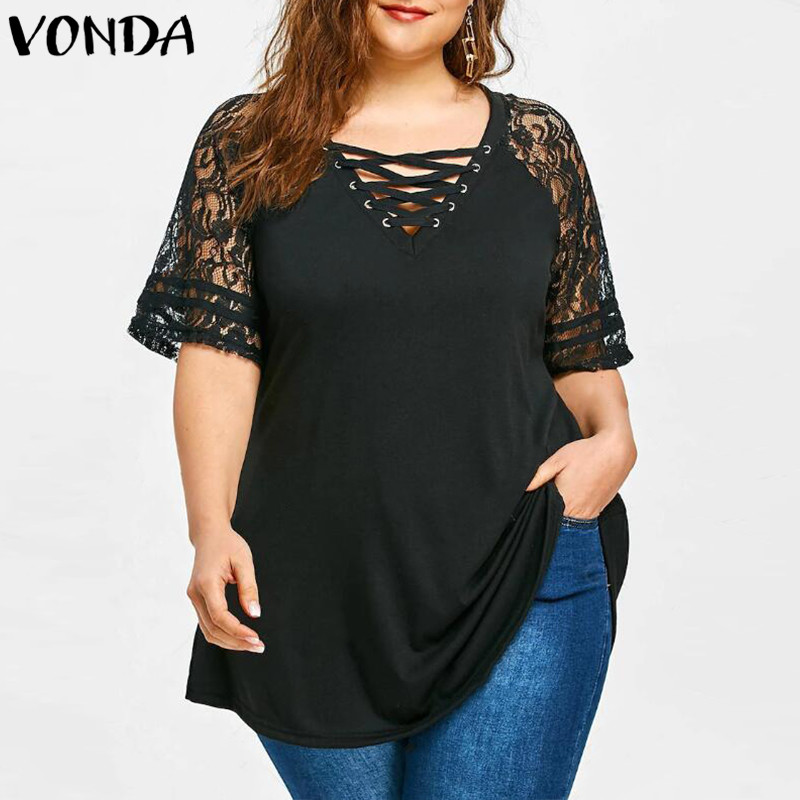 Women Lace Shirt 2018 Summer Sexy V Neck Short Sleeve Casual Loose Blouses Patchwork Bandage Black Tee Tops Plus Size Hollow Out