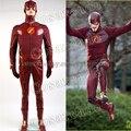 El Flash Cosplay Barry Allen Traje Masculino del juego Del Flash temporada 2 Barry Allen Traje Traje de Superhéroe Con Botas Para Adultos hombres