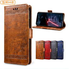 SRHE Flip Cover For Huawei Y6 2019 Case 6.09 inch Leather Silicone With Wallet Magnet Vintage