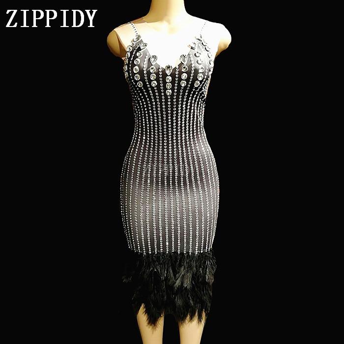 Fashion Crystals Black Feathe Dress Sexy Rhinestones Stretch Dresses Stage Dance Wear Evening Celebrate Nightclub Dress