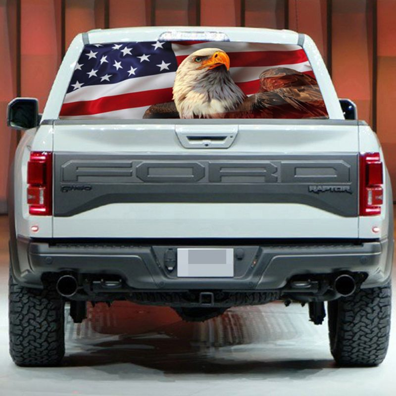 AMERICAN FLAG DEER PICK-UP TRUCK BACK WINDOW GRAPHIC DECAL PERFORATED VINYL TINT