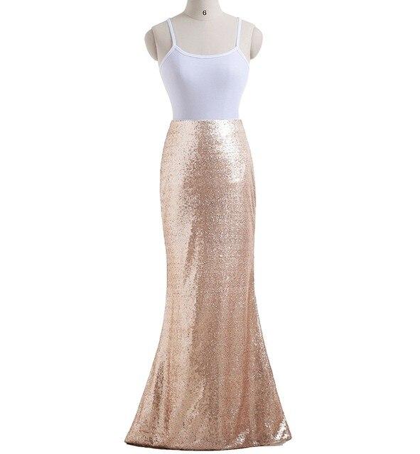 100% imagen real oro rosa sexy sirena larga mujeres Lentejuelas Faldas  partido por encargo falda 18dbefab48c1