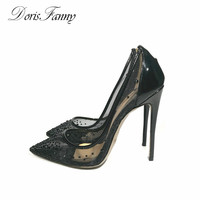 DorisFanny Black Summer High Heels Womens Pumps Size 10 12 See Through Pointed Toe Ladies Shoes