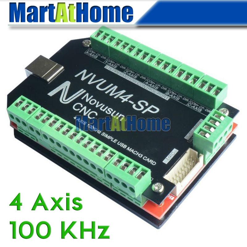 CNC Router Simple 100KHz 4 Axis Mach3 USB Motion Control Card Breakout Board #SM756 @SD 4 axis usb mach3 motion control card cnc controller card four axis breakout interface board for cnc router
