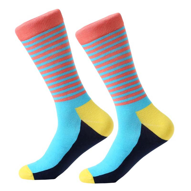 Underwear ... Men's Socks ... 32820884061 ... 4 ... MYORED brand new men's socks colorful combed cotton crew socks Jacquard striped knee high socks for man business causal dress ...