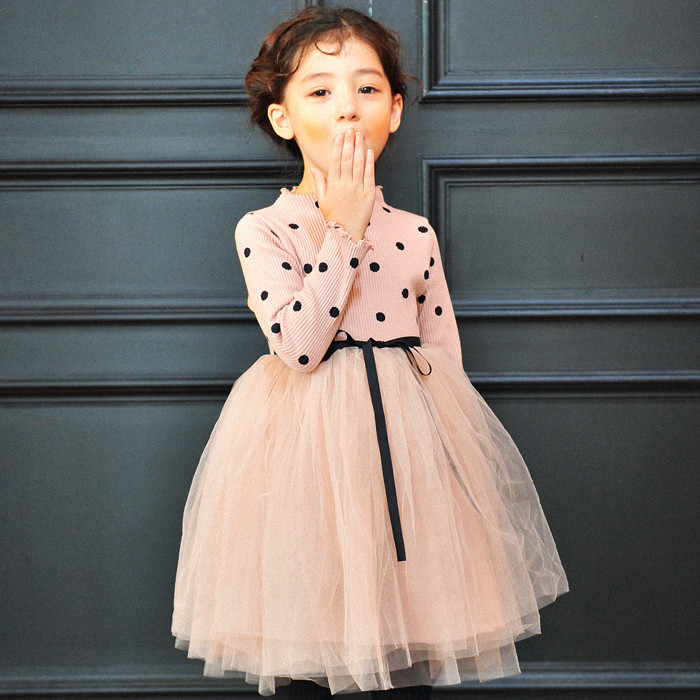 Baby Girl Princess Dress 3-10 Years Kids Long Sleeve Autumn & Winter Dresses For Toddler Children Dot Knit Fashion Clothing baby girl princess dress 3 12 years kids sleeveless big bow tutu dresses for toddler girl children fashion clothing