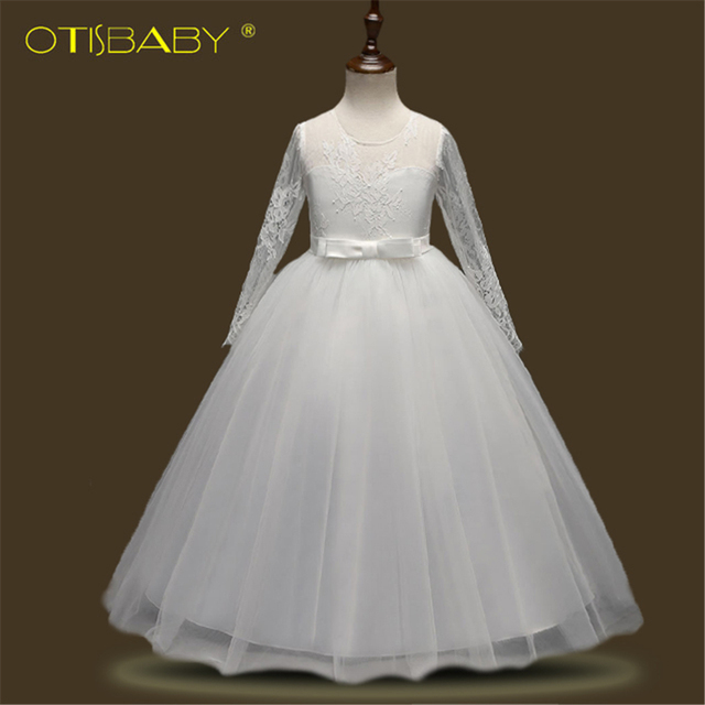 Charming Girls Lace Long Sleeve Ball Gown Kids Red Tulle Luxury Boho ...