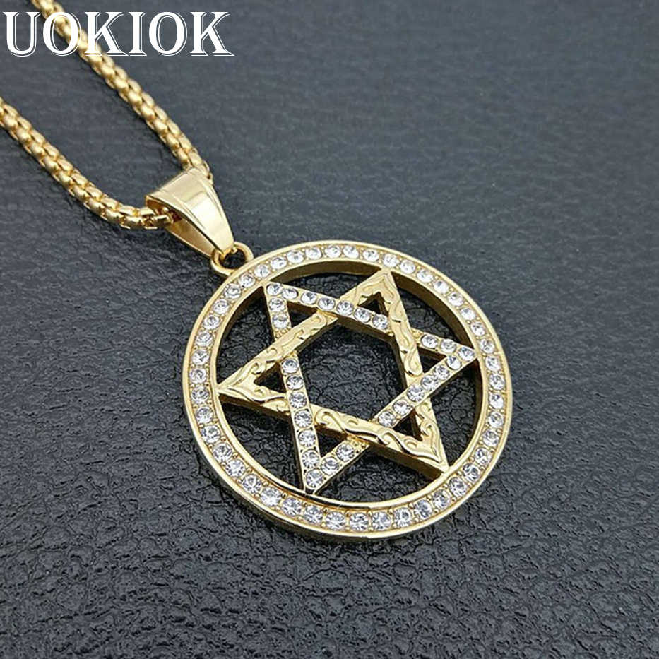 Hip Hop Iced Out Star of David Pendant Necklace Men Gold Color Stainless  Steel Hexagram Necklaces c40e831ac13e