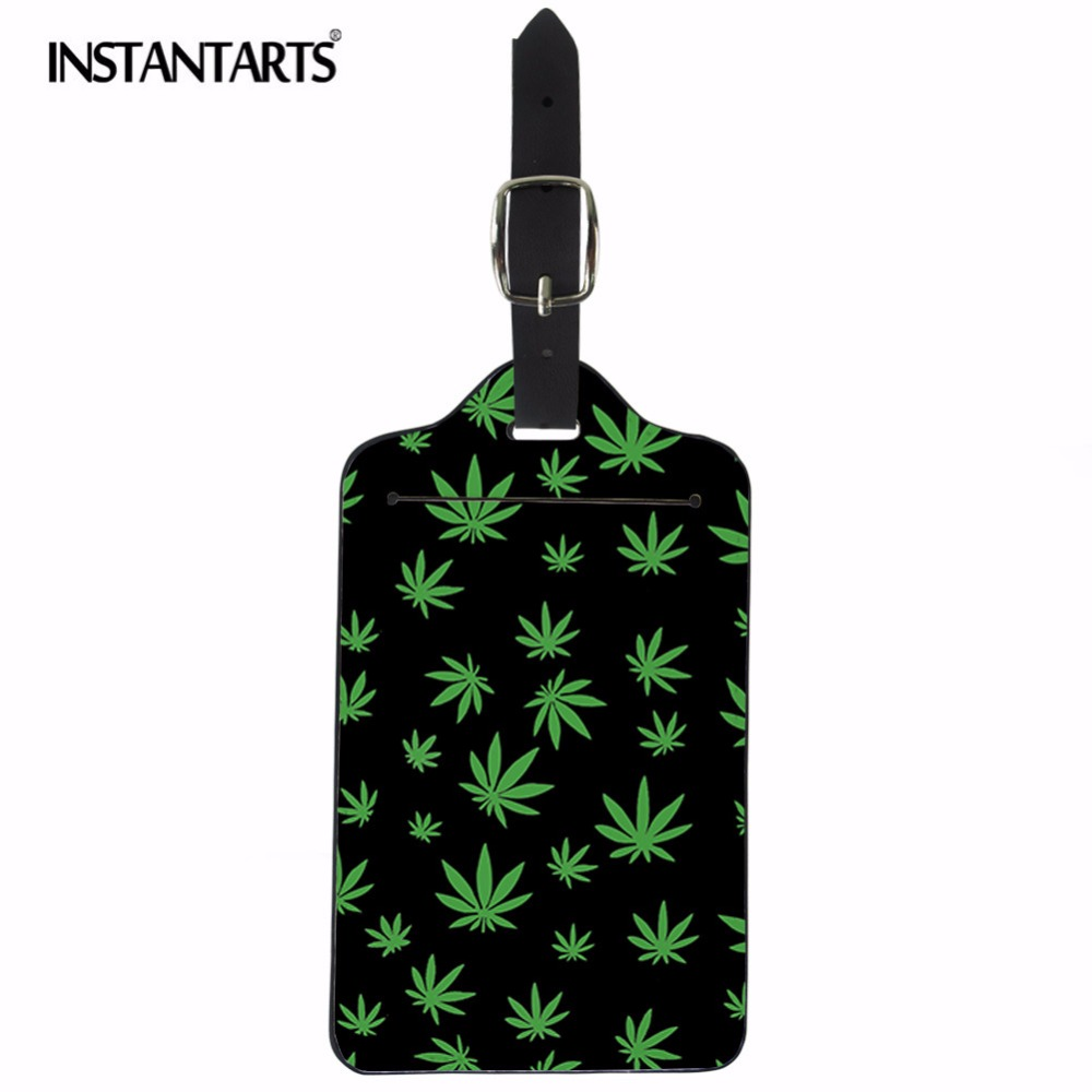 INSTANTARTS Plant Print PU Leather Luggage Tag Portable Secure Travel Suitcase Label Personalized Boarding Address Name ID Tags