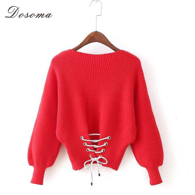 Aliexpress.com : Buy Lacing Up Short Sweaters Women Bandage Slash ...