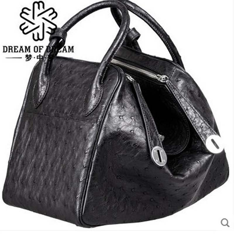 mengzhongmeng  new ostrich leather women handbag rea lostrich leather women handbag single shoulder women bag mengzhongmeng south africa ostrich leather women handbag fashion lady business bags briefcases female cross section 5 color