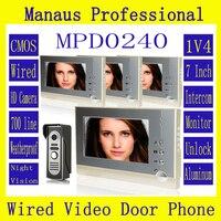 Top Verkauf 7 zoll Display Im Freien Video Türsprechanlage System Kit Magnetverschluss zu Vier Video-türsprechanlage Gerät D240b