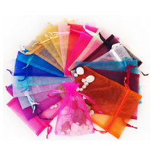 50pcs transparent organza bag Christmas day gift jewelry bundle pocket wholesale 13 * 18cm