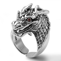 Pure 925 Sterling Silver Dragon Ring Animal Domineering Rings for Men Male Red Zircon Punk Thai Silver Fashion Jewelry Gifts