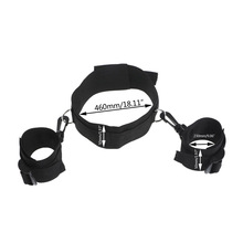 Sex Toy Game Nylon Hand Tied Neck Collar Restraint Bondage Wrist Handcuffs For Adult Couple Lover