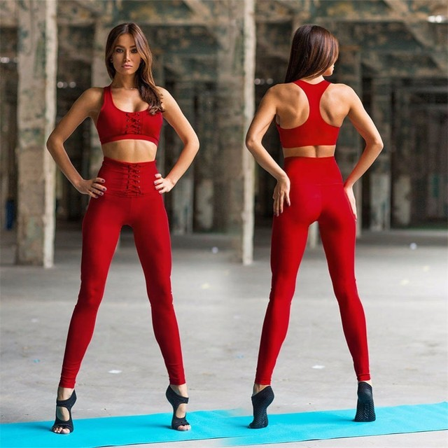 a3e4cd7b6e Red Black Women Yoga Set Fitness Sport Bra Crop Tops + Pants Leggings  Tracksuits Gym Workout Elastic Breathable Sportswear