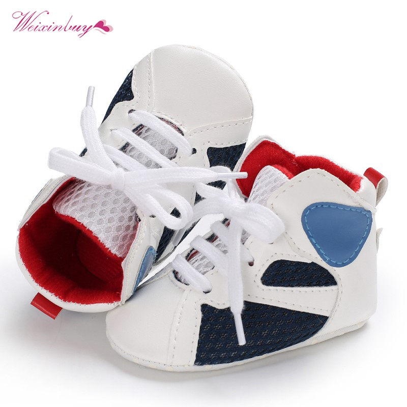 Newborn Baby Boys Girls Moccasins Shoes High-top Soft Sole Infant Baby Sneakers First Walker Boot Basketball Shoes For 0-18M
