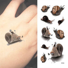 3D Kids Tattoo Cute Snails Temporary Tattoo Sticker Women Body Art For Children Youth Girls Boys