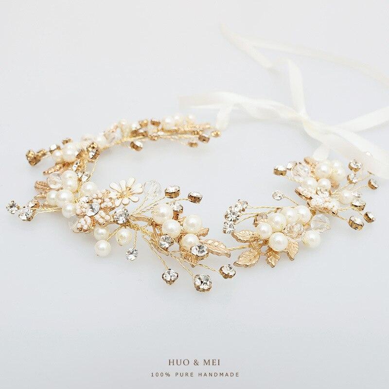 high end flower pearl crystal women headband bridal tiara wholesale wedding bride hair jewlery цена 2017