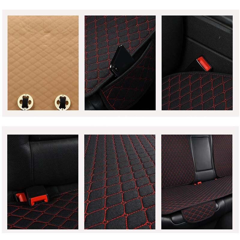 5 sièges housse de siège de voiture en lin protecteur avec dossier avant arrière siège arrière taille de coussin lavable tapis pour Auto - 5