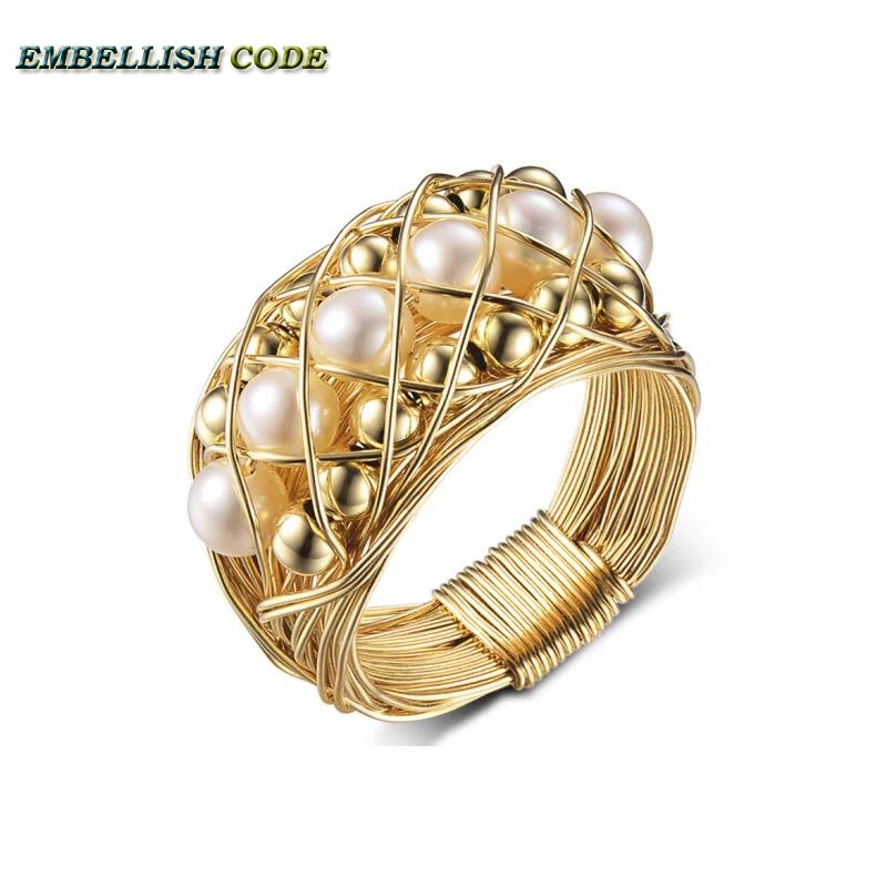 NEW Designer pieces ring gold with round like ball pearls hand make ring ...