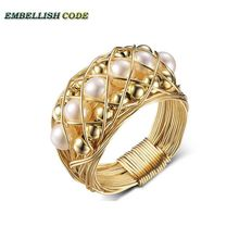 NEW Designer pieces ring gold with round like ball pearls hand make ring new design original pieces gold with baroque ring pearls hand make rings peacock brown grey mixed color
