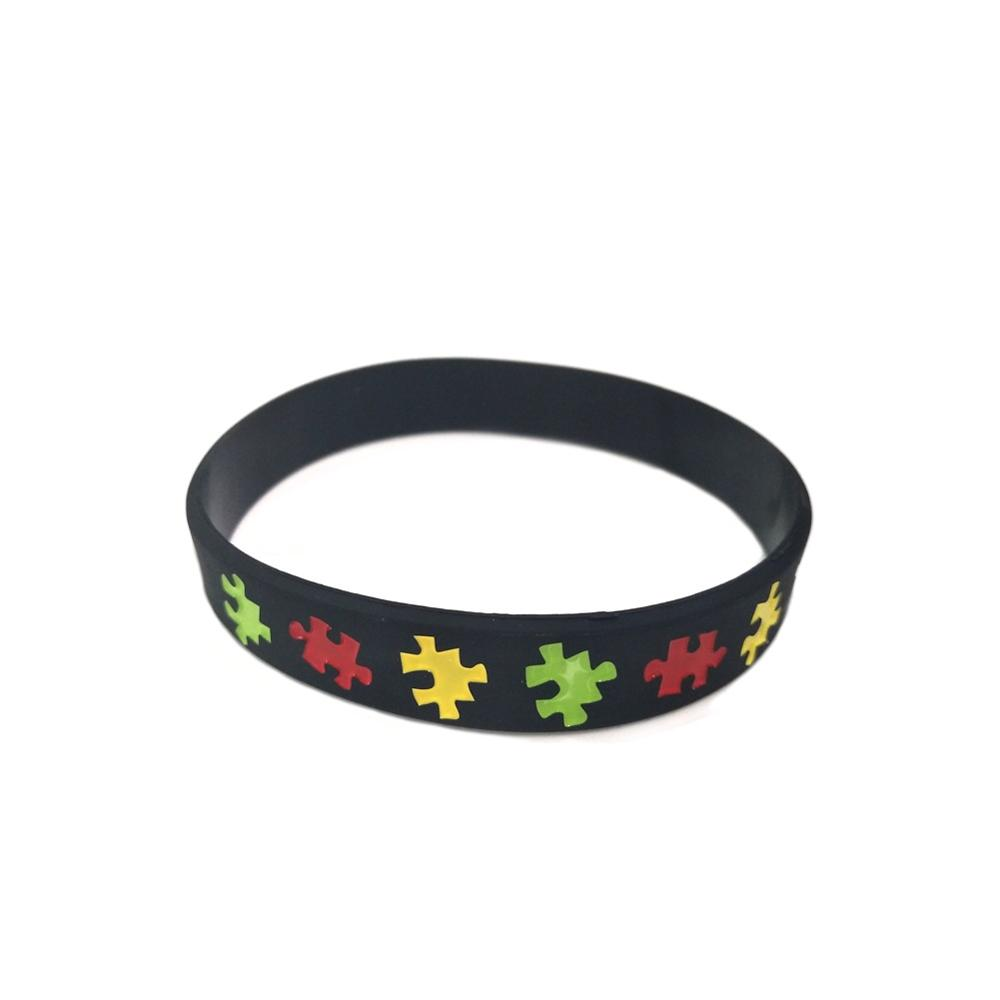 Autism Awareness Bracelet Silicone Rubber Band Elastic Wristbands Jewelry(China)
