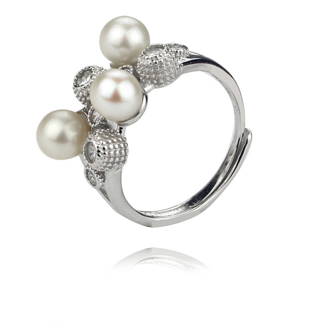 SNH AA 5.5-6mm perfect round pearl ring genuine natural freshwater pearl ring 925 sterling silver cultured pearl jewelry ring