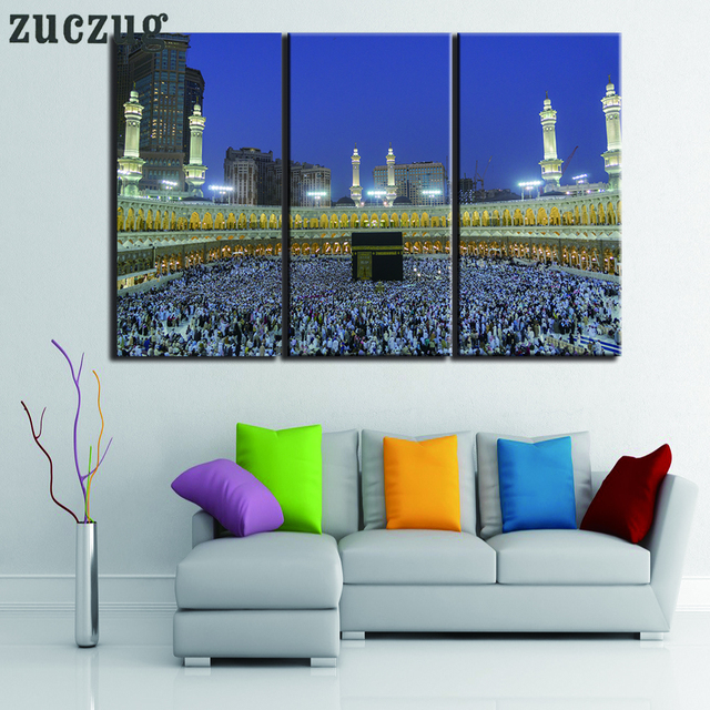 Popular Wall Eid Al-Fitr Decorations - Unframed-3-Piece-Abu-Dhabi-Mosque-Walling-Art-Picture-Print-on-Canvas-Home-Decor-Eid-al  Picture_743148 .jpg