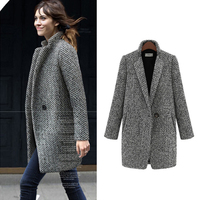 ZYFPGS 2019 Top Winter Coat Women Gray Thick Fashion Design New Arrival Warm Wool Fabric Woolen Coat Classic Long Plus Z0923