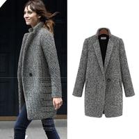 ZYFPGS 2019 Top Winter Coat Women Gray Thick Fashion Design New Arrival Warm Wool Fabric Woolen Coat Classic Long Plus Z0923