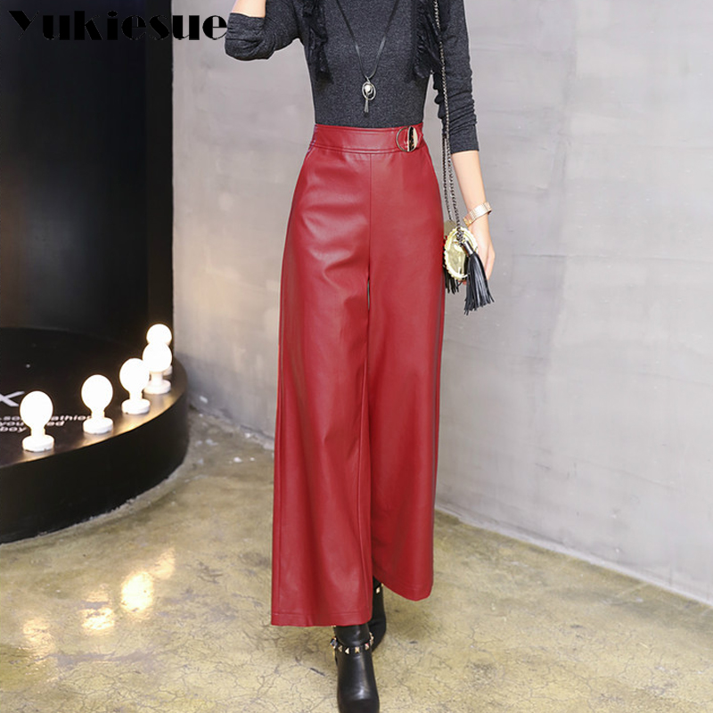 Wide     leg     pants   capirs women 2017 winter warm PU leather   pants   female trousers OL office formal casual   pants   woman Plus size