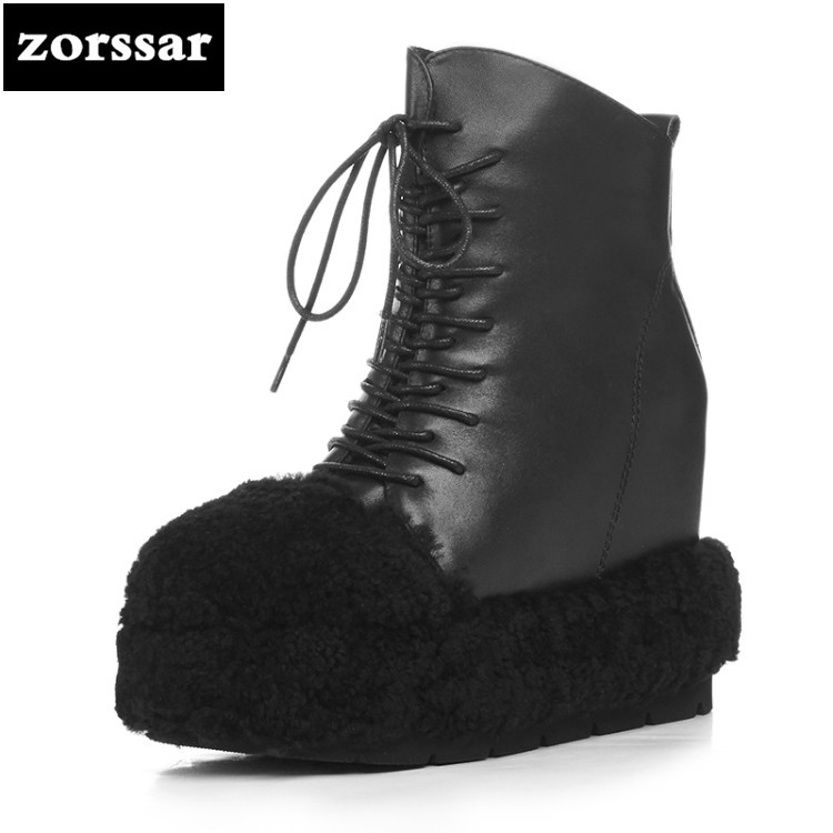 {Zorssar} 2018 New arrival Warm Plush snow Boots Women ankle boots High heel height Increasing platform boots Winter women shoes zorssar 2017 new winter female shoes suede platform height increasing ankle snow boots fashion buckle high heels women boots