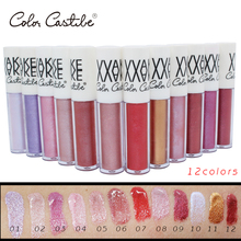 Color Castle 12 colors Glitter Lip Gloss Diamond Shine Lips Makeup Metallic colors Matte Lipstick Waterproof Lasting