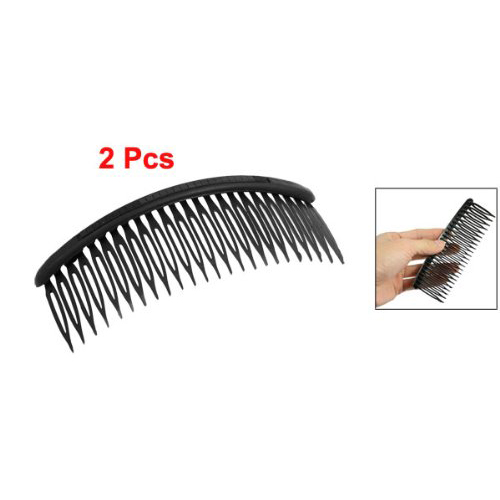 5x Practical Black Plastic 24 Teeth Hair Comb Clip Clamp 2 Pcs for Lady Girls