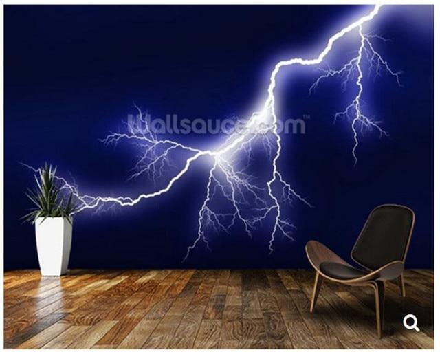 Benutzerdefinierte Natur tapete. Blitz, 3D wandbild für wohnzimmer ...