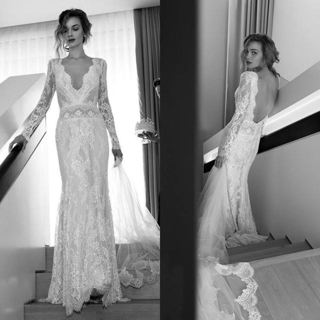 2016 Sexy Long Sleeves Lace Wedding Dresses Mermaid Bridal Gowns with V Neck Backless Fitted Brides Dress Custom Made Vintage