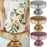 High Quality Gold/Rose Gold/Silver Retro Wedding Cake Stand Round Metal Party Display Pedestal Plate Tower 25cm