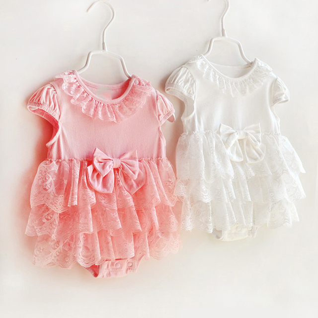 8169f37cbed7 Baby Cute Rompers Girls Clothing Cotton Sleeveless Bowknot Lace ...