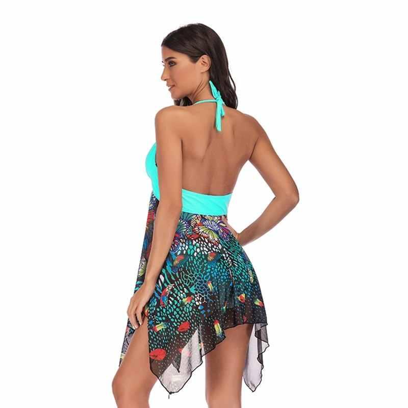 LASPERAL 2019 Plus Size Tankini Set Women Swimwear Two Piece Print Halter Sundress Swimming Dress Bathing Suit S-5XL Beachwear