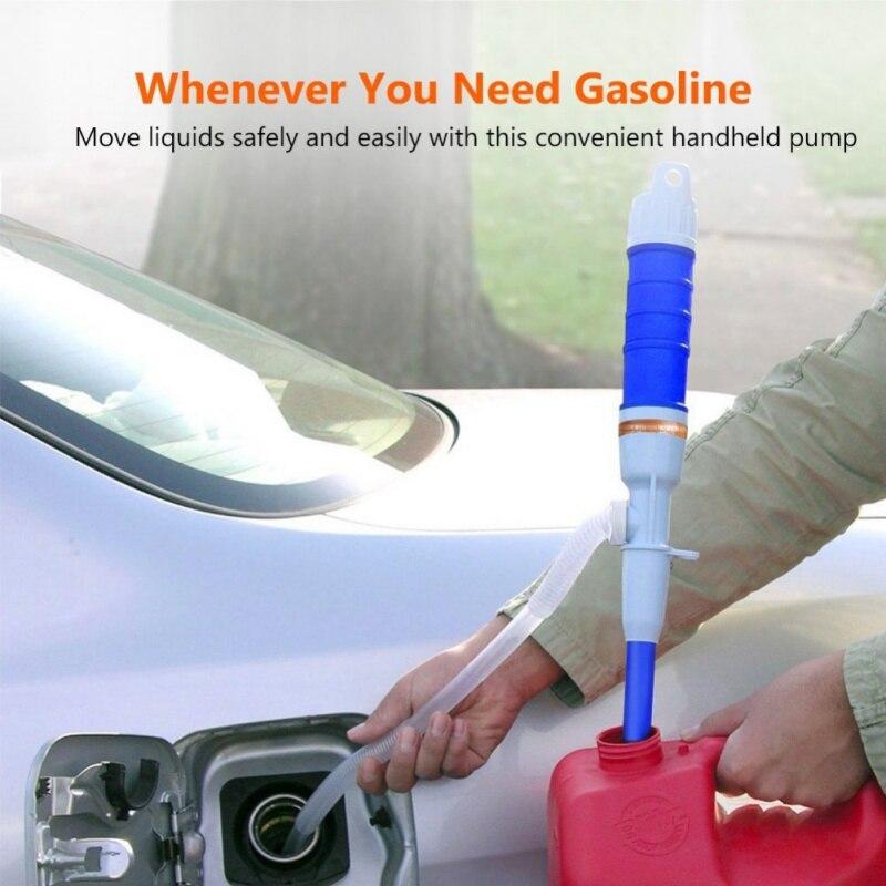 Bomba de mano operado Liquid Transfer agua herramientas de Gas gasolina portátil manguera de sifón coche vehículo Auto del coche al aire libre