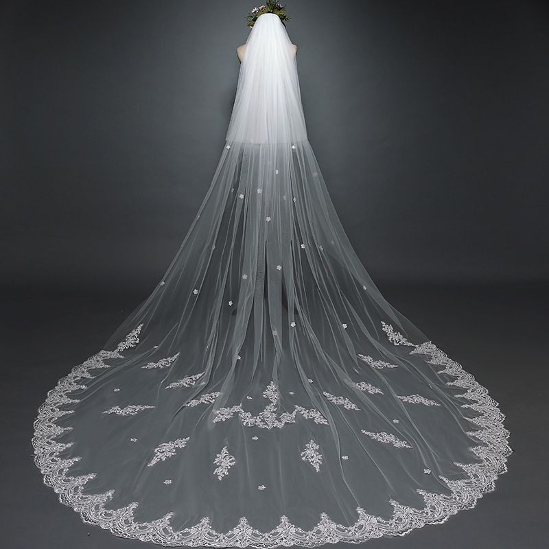 2020 New Arrival 3 Meter Cathedral Wedding Veils Long Lace Edge Bridal Veil With Comb Two Layers Veil With Front Veil
