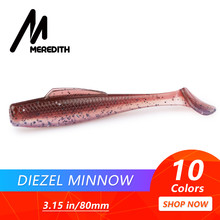 "MEREDITH DieZel Minnow Fishing Lures 80mm 5.9g Fishing Soft Baits 3.15"" 8pcs/lot Silicone Artificial Swim Plastic Lure Wobblers(China)"